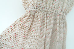 Vintage Stand Collar Wave Flower Light Brown Beige Jananese Pleat Dress
