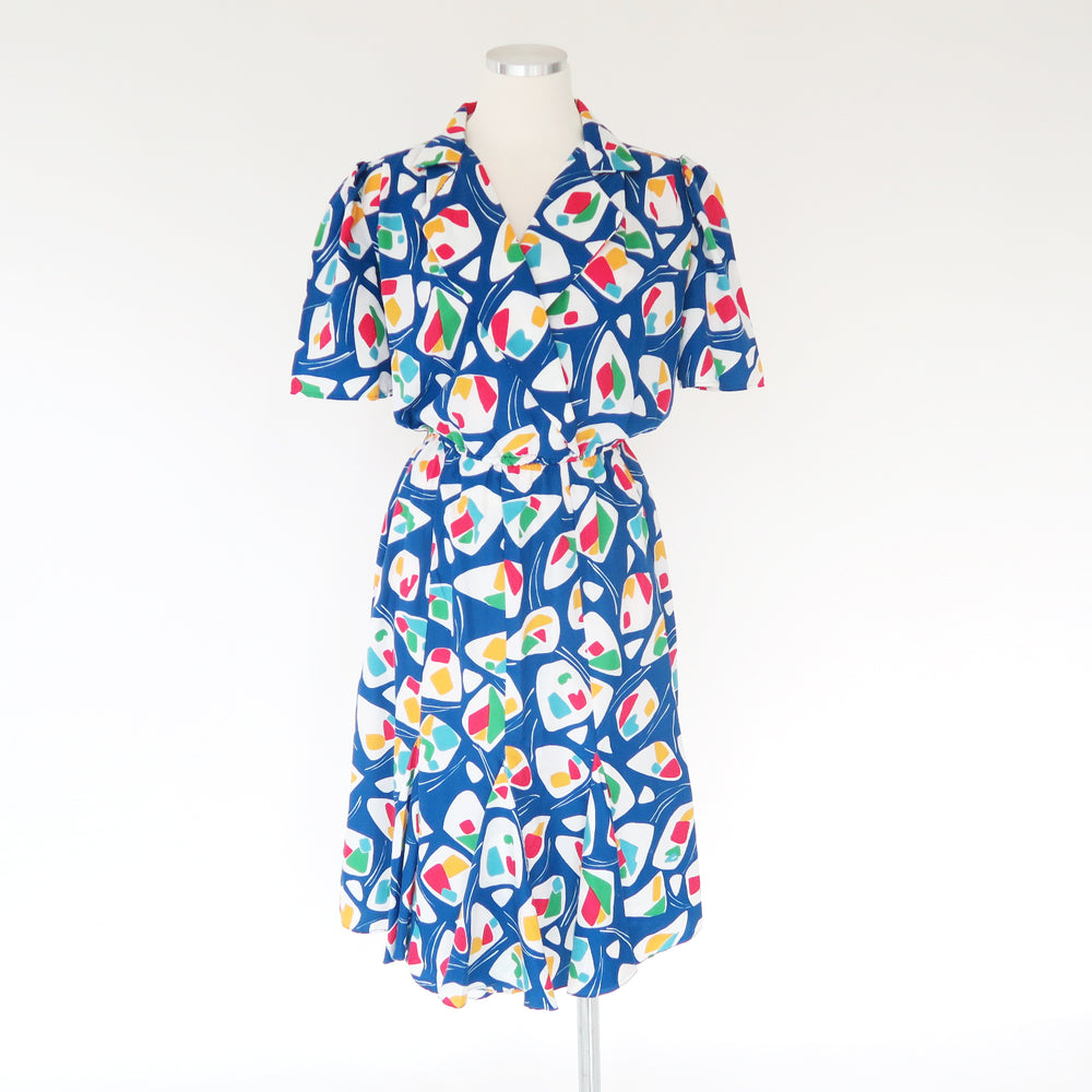 Vintage 1970s Funky Blue White Abstract Print Mermaid Retro Short Sleeves Sun dress