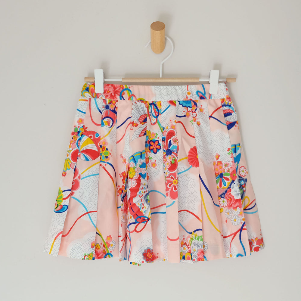 Vintage Funky Floral White Blue Red Orange Peach Pleat Skirt Size XS