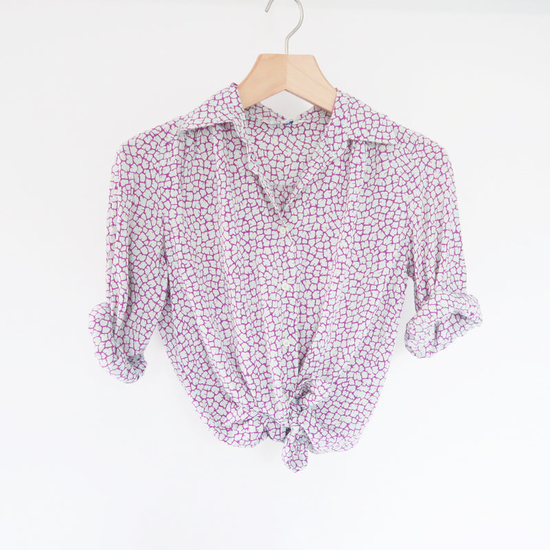 Vintage Abstract Mint Purple Soft & Lightweight Secretary Shirt Blouse S-M