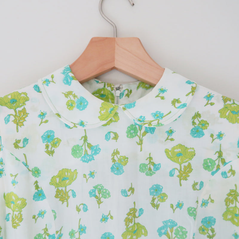 Vintage Mod Light Green/Mint Flowers Flora Print Peterpan Collar Dress size XS-S