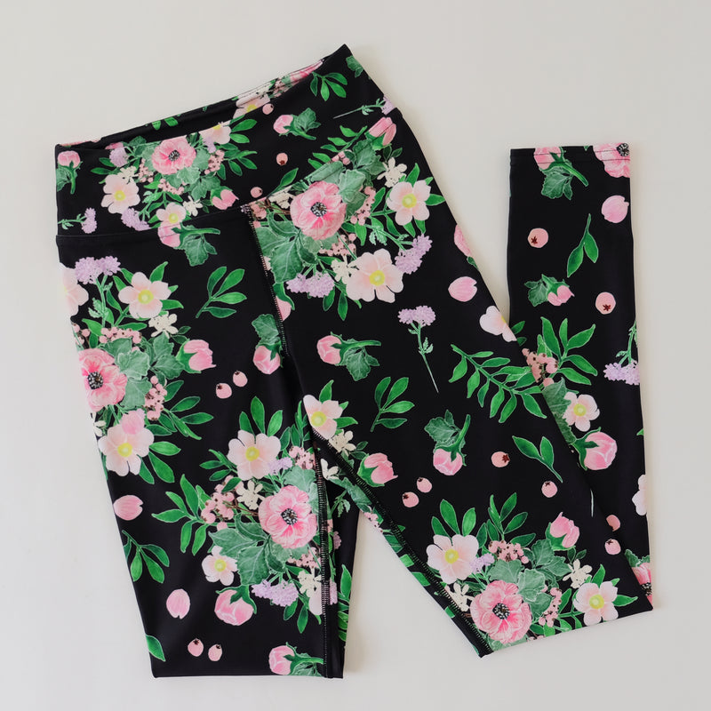 DaJazzy FLORAL PRINTS MIDNIGHT BLACK YOGA LEGGING SIZE S