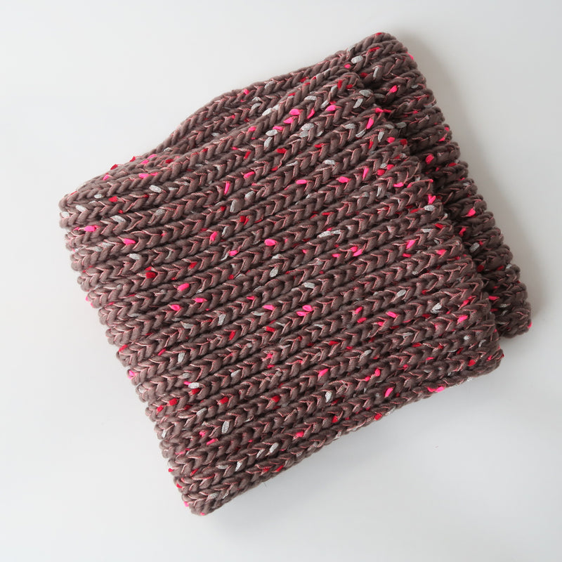 Mocha Pink Red Silver Confetti Soft Knit Infinity Scarf