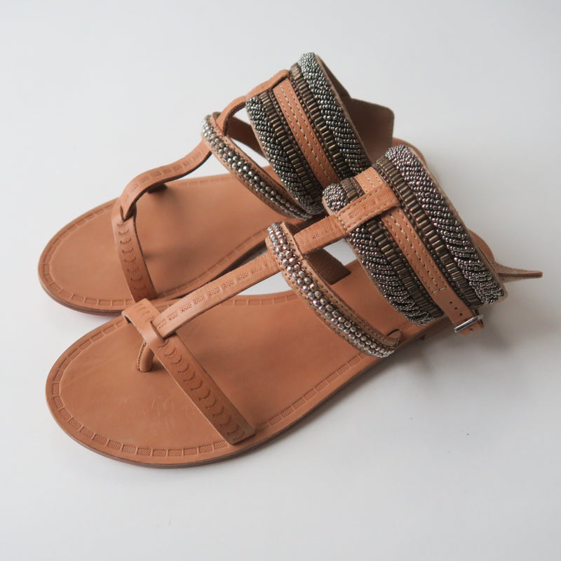 Anthropologie by Jasper & Jeera Beads Leather Pincuff Sandals Shoes EU 38, U.S 7.5