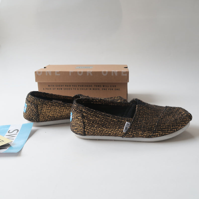 TOMS Black Gold Bronze Glitter Wool Flat Classic Shoes Size 6.5