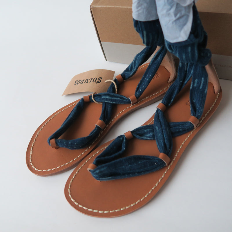 [SOLD OUT] - Soludos Indigo Navy Bandana Boho Summer Sandals Shoes Size 6