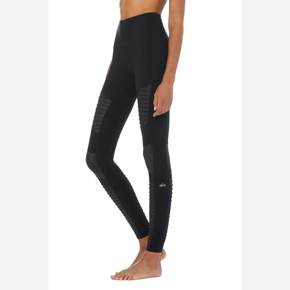 [SOLD OUT] - ALO Yoga High-Waist Black / Black Glossy Moto Legging size S