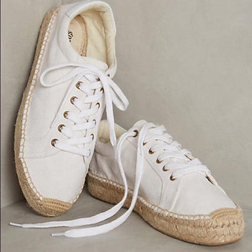 Soludos White Platform Tennis Espadrille Natural Lace up Sneaker Size 6