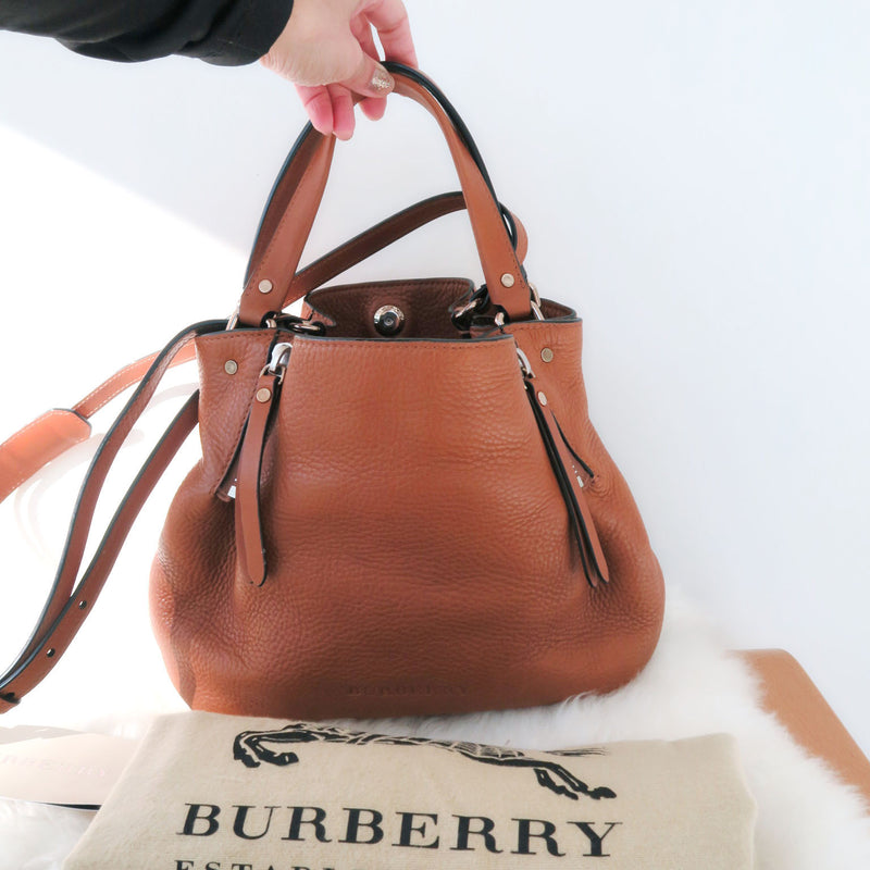 BURBERRY Saddle Small Maidstone Bucket Brown Leather Crossbody Satchel Bag
