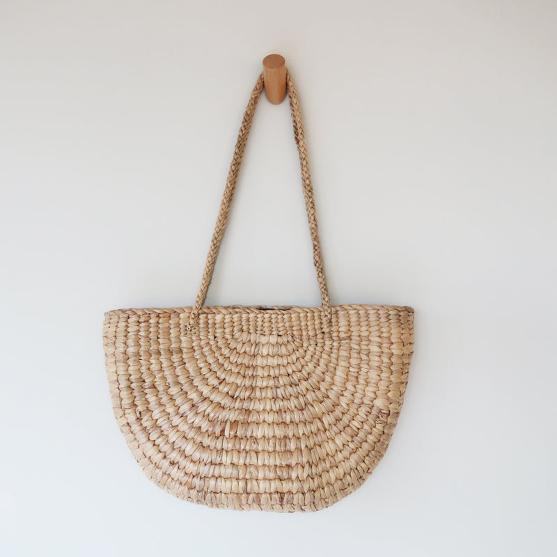 [SOLD OUT] - Handmade Half Circle, Half Moon Common water hyacinth straw shoulder bag tote