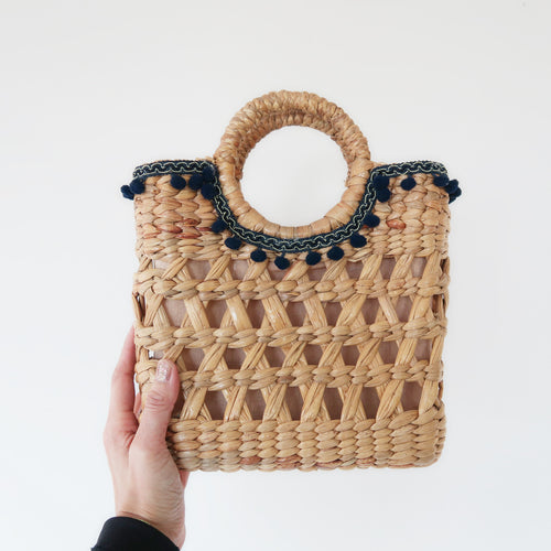 Handmade common water hyacinth natural straw  small bohemian satchel bag