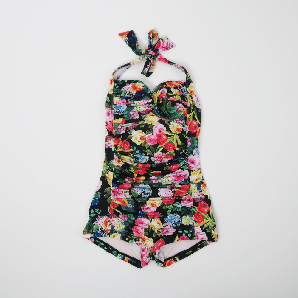 [SOLD OUT] - Seafolly Summer Garden Black Motif Boyleg One-Piece swimsuit Aus 8, US 4 (XS)