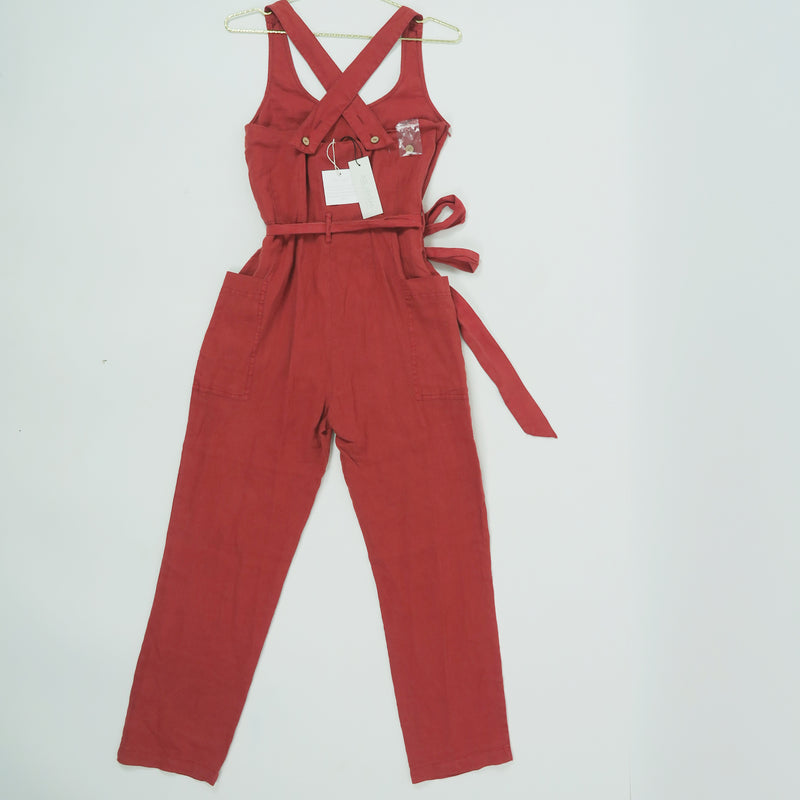 Rachel Zoe Orange/Brick 100% Linen Vintage Look Jumsuit Size XS