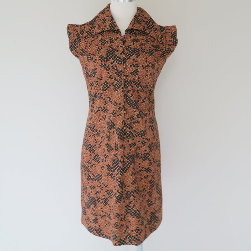 Vintage Mod Funky Python Animal Print Brown Black Shirt Dress size XS-S