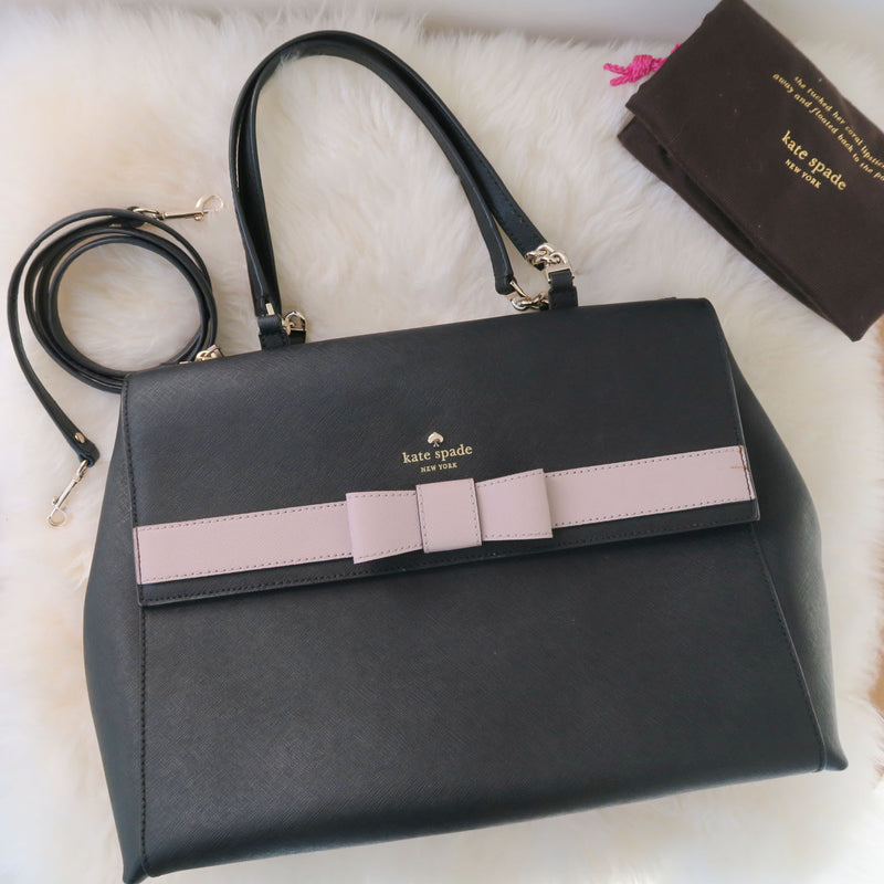 [SOLD OUT] - Kate Spade - kirk park saffiano mason black leather lavender bow large tote bag