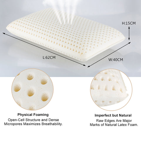Natural Latex with Ventilated Latex Foam Filler Contoured Medium Healthy Pillow