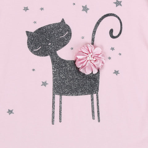 Summer Girls Clothing Sets kids clothes girls Fashion Cartoon Little Kitten Printed Shirt