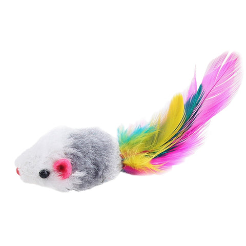 Furry Mouse Cat Kitten Real Fur Gravel Sounds Cute Toy Faux Mice Cat Toys