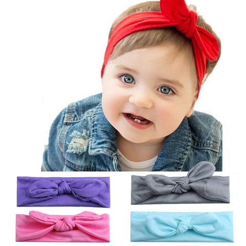 Kids Girls Rabbit Bow Ear Hairband Unisex Turban Knot Head Wraps