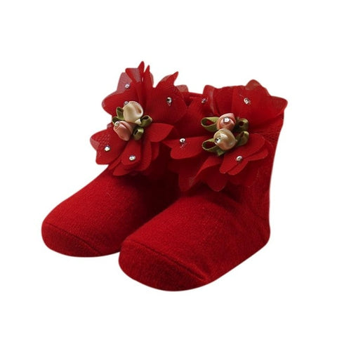 Baby Kids Girls Comfortable Floral Cute Cotton Sock Slippers
