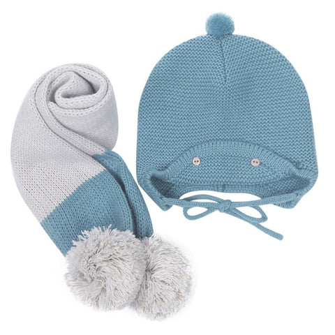 Cute Winter Baby Kids Girls Boys Warm Woolen Coif Hood Scarf Caps Hats Set