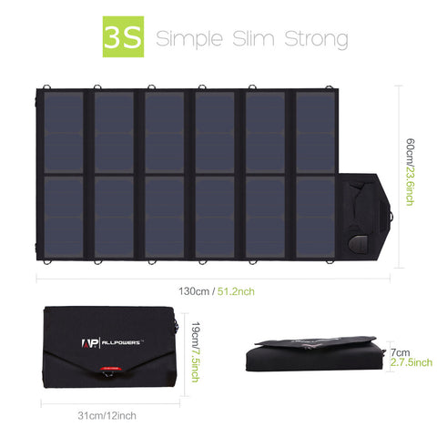 Solar Panel 80W Battery Charger for iPhone Lenovo HP Dell Acer Laptops