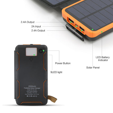 20000mAh Power Bank Solar External Battery Charger for iPhone Samsung Huawei Smartphones
