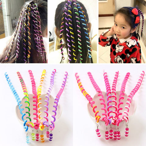 6PCS/Lot New Cute Girls Headband Colorful Crystal Long Elastic Hair Bands