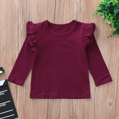 Clothes Newborn Baby Boys Girls Ruffles Candy Long Sleeve Tops O-Neck T -Shirt