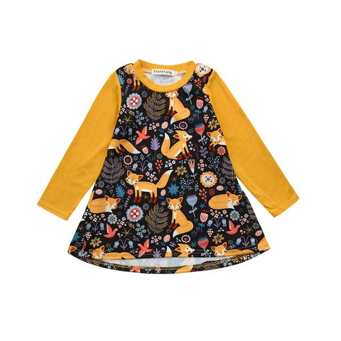 New Fashion Girls Dresses Toddler Kids Baby Girl Cartoon Long Sleeve Fox Printed Dress