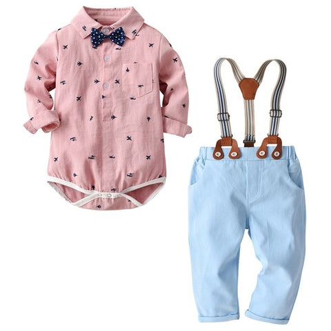 Baby Boys Formal Clothes Sets Toddler Bow tie Gentleman Plane print T-Shirt Romper+ Trousers Pants