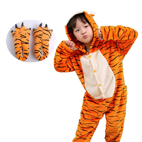 Animal Tiger Kigurumi Onesie Children Pajamas Funny Flannel Warm