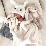 Winter baby blankets Newborn Warm Soft Flannel  Cute Cartoon Ears Hooded bath towel