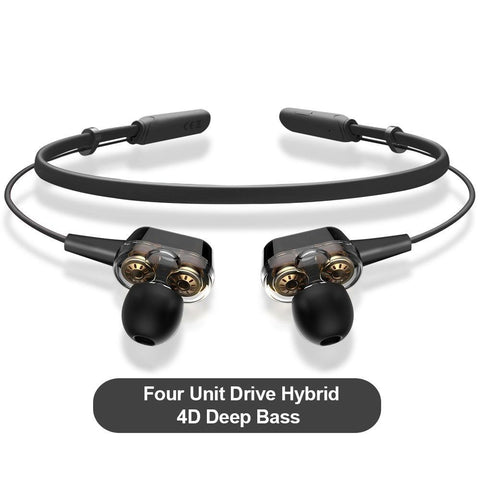Bluetooth Earphone Wireless Headphones Four Unit Drive Double Dynamic Hybrid Deep Bass