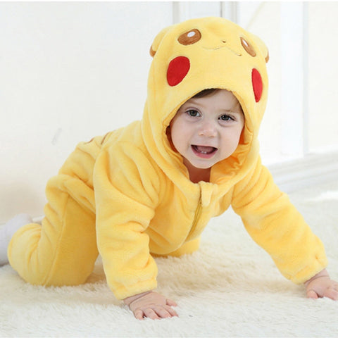 Pikachu Baby Onesie Anime Cosplay Costume Cute Infant Pajama Warm