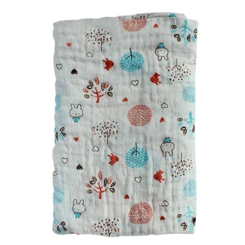Baby Cotton Blankets Cartoon Patterns Multi-use Newborn Swaddle Print Flowers Infant Gauze Towel Baby