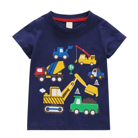 Children Hot Cartoon Cute Car Print T-Shirt Clothing For Kids Summer