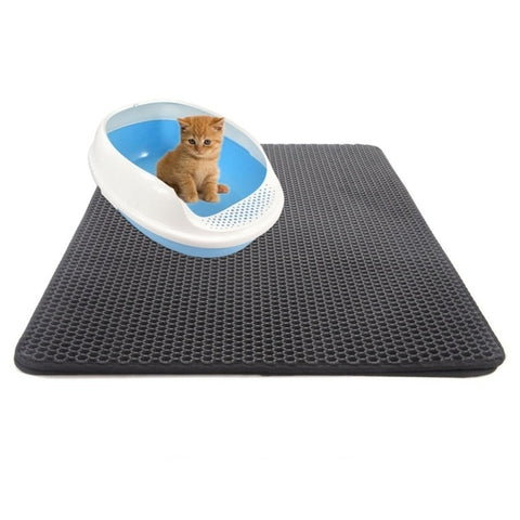 Double-Layer Cat Litter Trapper Mats Black Gray with Waterproof Bottom Layer