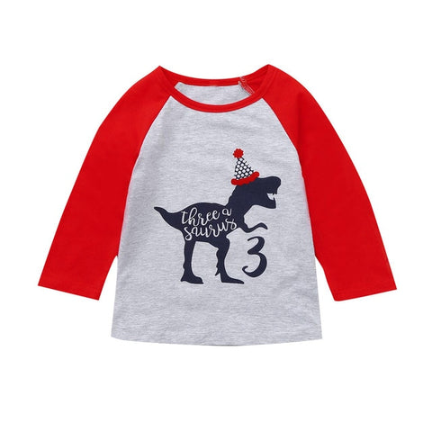 Clothes Kids Children Girls Boys Cartoon Dinosaur Print Tops