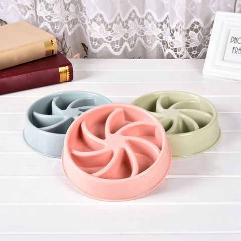 Bowl for Pet Dog Puppy Kitten Nordic Slow Eating Training Plastic Food Feeding Bowl
