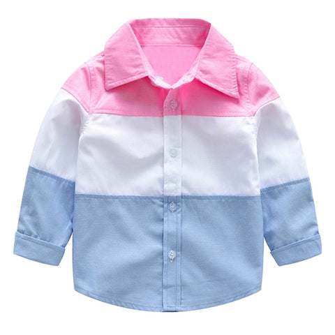Toddler Baby Boys Girls Splice T Shirt Long Sleeve Gentleman Tops