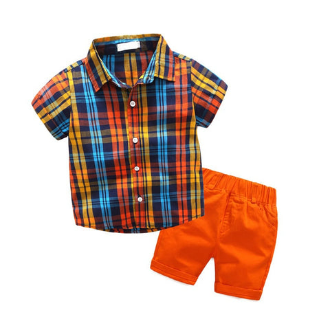 Summer Baby Boys Pure Cotton Children's Clothing Boys' plaid Shirt Sets