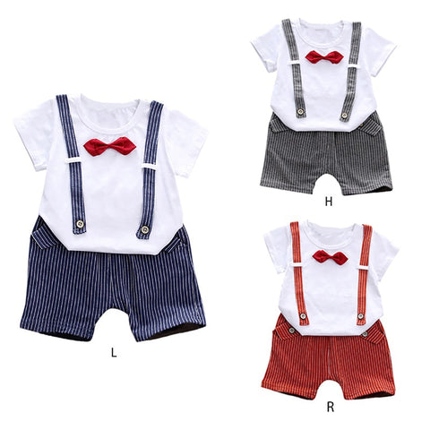 Children's Bow Tie Summer Suit Cartoon Short-Sleeved Baby Boys T-Shirt Suits