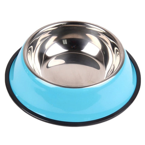 Pet Dog Solid Color Water Food Bowls Non-slip Heat-resisting for Home Garden Puppy
