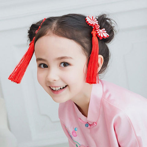 1Set=2pcs Multi style Girls Hair Clips Princess Tassels peony Flower Hairpins