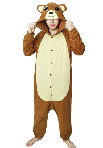 Unisex Adult Kids Animal lovely Brown Bear onesie Pajamas Sleepsuit