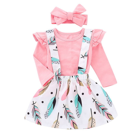 Kid Casual Clothing Strap Skirt Set Toddler Baby Girls Dress