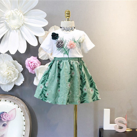 Kid Girls Clothing Children Summer Girls Clothes Set Three-dimensional Flower T-shit+Skirt