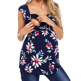 Women's Maternity Sleeveless Fashion Floral Print Summer Tops Nursing Baby