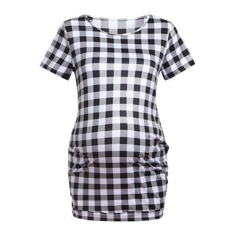 Fashion Women Short Sleeve Tops Breastfeeding Nursing Plaid T-shirts Maternity Clothes